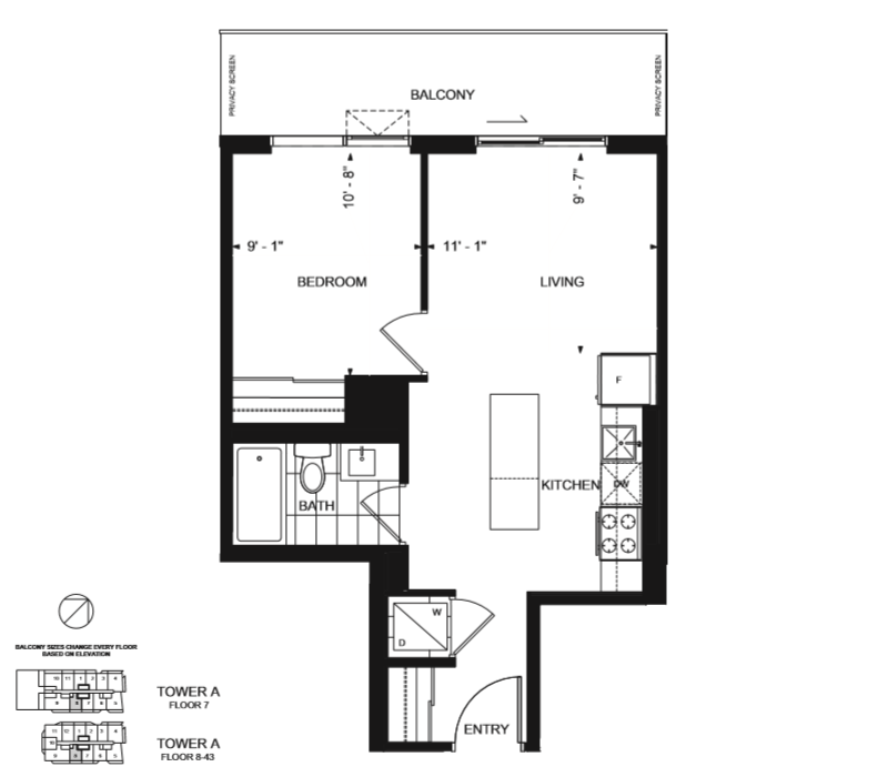 The 1B-G Floor Plan - Wesley Tower